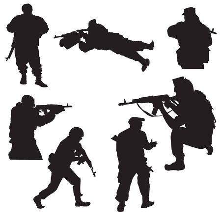 special forces: Vector outline image of Special Forces on a white background
