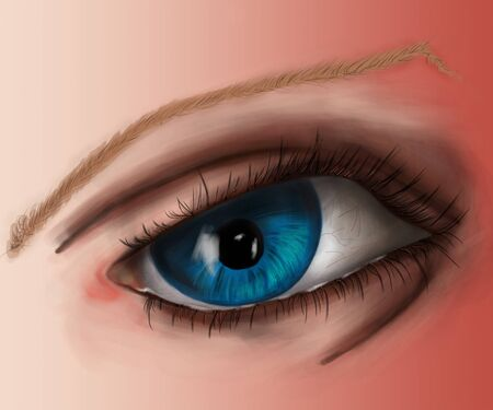 eyelids: colored fragment of the human body figure, eyes, detailed illustration