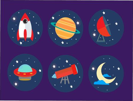 vector icons on the theme of space, to design websites and applications Illustration