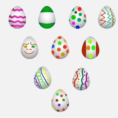 set illustration of Easter eggs for design