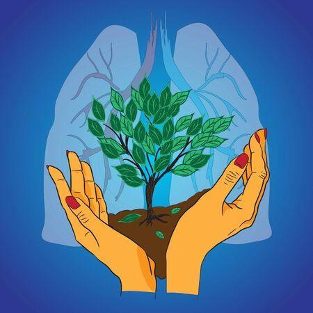 arbol de problemas: ilustración abstracta de la salud del planeta tierra Vectores