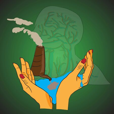 public opinion: vector illustration water pollution planet earth