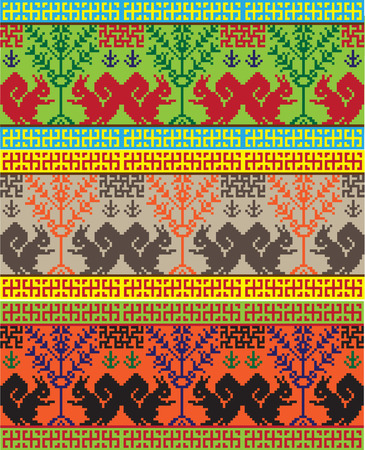 paganism: national embroidery picture pattern, among the Slavic peoples Illustration