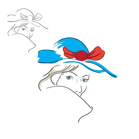 laconic: contour image of a girl made an art brush, black and white and color