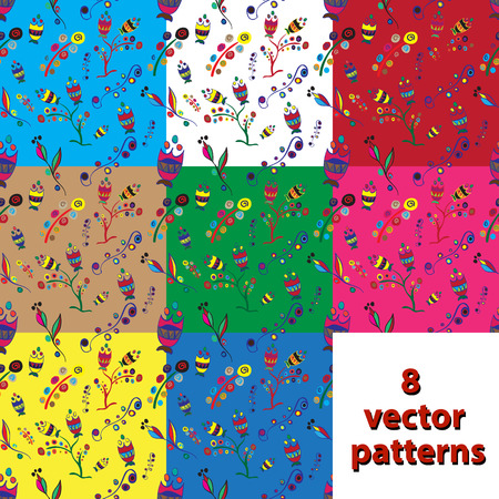 inflorescence: set of seamless patterns on different colored backgrounds