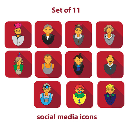 mankind: Set of 10 social media icons of different areas of life of mankind
