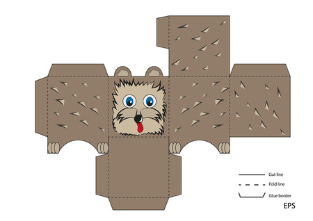 porcupine: ready to print layout toy box with a small hedgehog porcupine