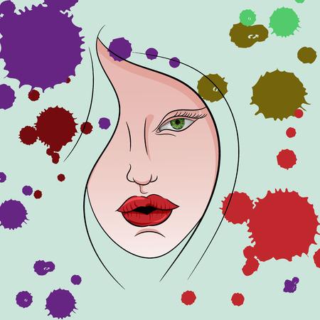 snění: Vektorový obrázek obličeje dívky v bloty