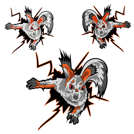 Vector illustration of a squirrel that emerges from a hole