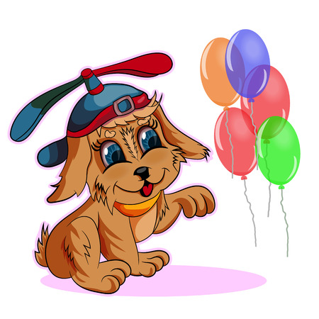 Vector illustration of a puppy wearing a cap for flying catching balloons