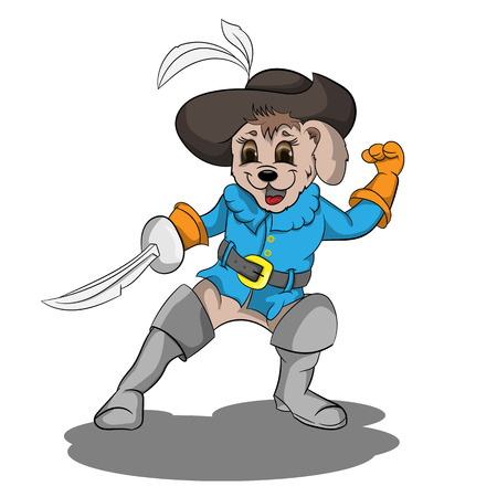 Vector illustration of a little puppy in boots hat and saber in paws