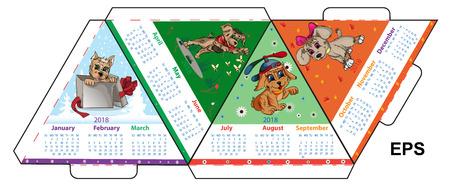Een driehoekige opmaak van de A4-kalender voor 2018 van een aardhond die is voorbereid op drukwerk