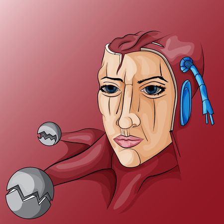 Vector illustration of a robot woman with metal parts Illustration