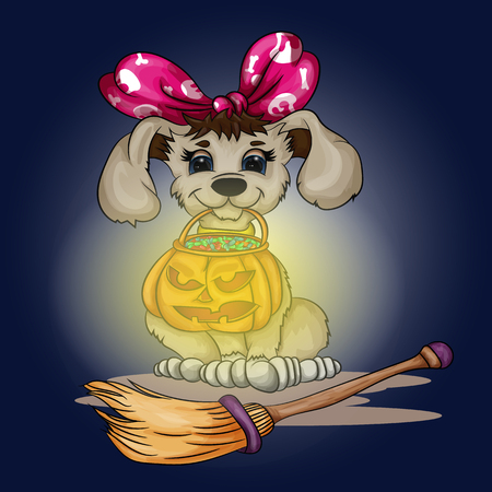 Vector illustration puppy holding a pumpkin with candies