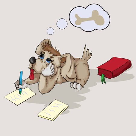 Vector illustration of a small puppy writing on paper