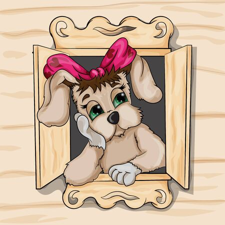 Vector illustration of a puppy girl who misses the house Illustration