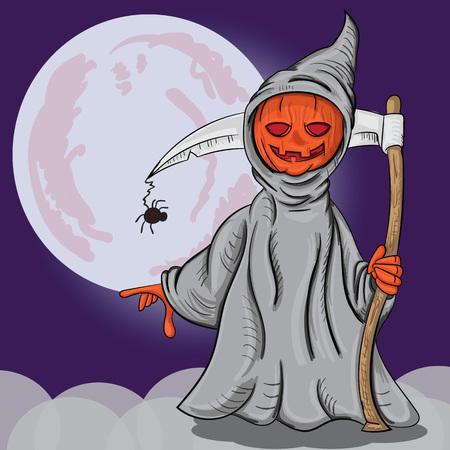 Illustration vectorielle d'une citrouille d'Halloween dans le costume de la mort Vecteurs