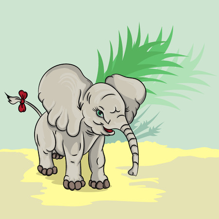 its: Vector illustration of a little elephant with a bow on its tail Illustration