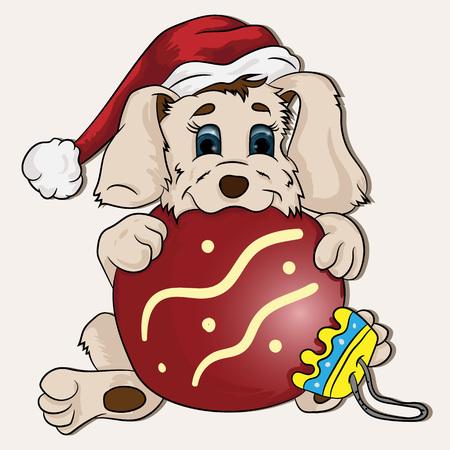 Ilustración de vector de un cachorro con una bola de Navidad en sus patas