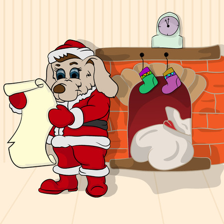 Vector illustration little puppy in the role of Santa Claus