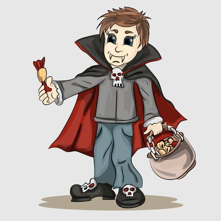 all saints day: Vector illustration boy in vampire costume with candy in hands Illustration