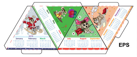Vector layout for printing an A4 calendar for 2018 of an earth dog Stock Illustratie