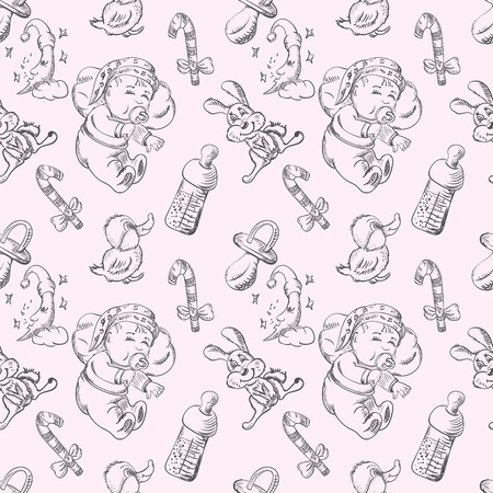 Seamless vector sketch of a sleeping baby and toys in a dream
