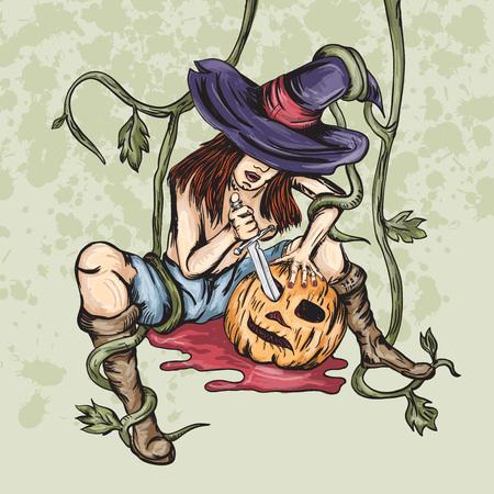 Vector illustration girl witch cuts a pumpkin pumpkin into halloween Illustration