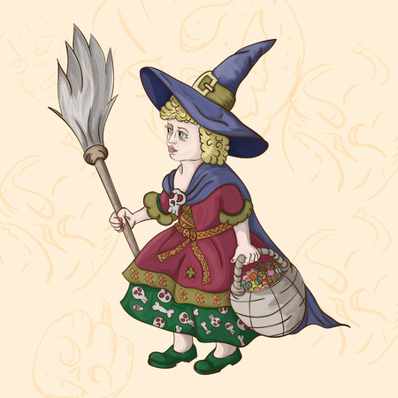 vector illustration of a little girl in a witch costume with a broom and a basket of sweets