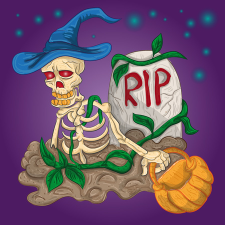 Skeleton in the wizard hat climbed out of the grave. Иллюстрация