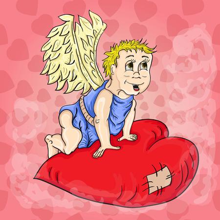 Vector cupido con alas sentado en corazón Foto de archivo - 89934390