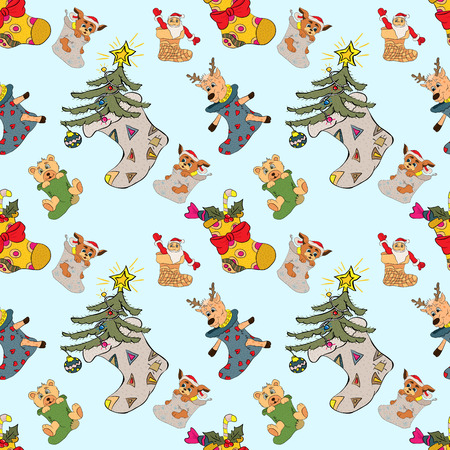 vector pattern Christmas sock animals and gifts Иллюстрация