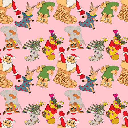 ベクトル パターン クリスマス靴下動物とギフト