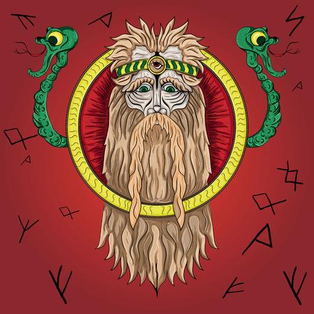 ベクター古い異教の神と蛇  イラスト・ベクター素材