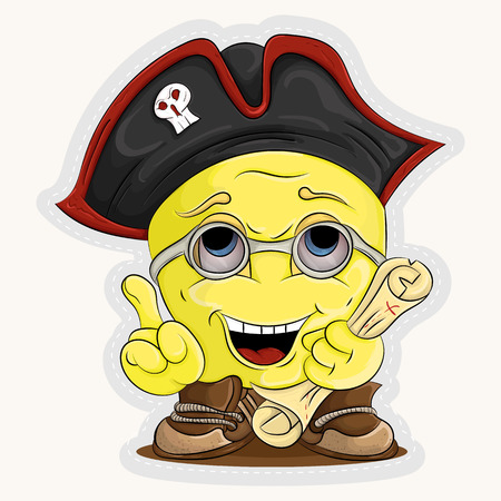 vector smiley in the header of a pirate with a map in hand