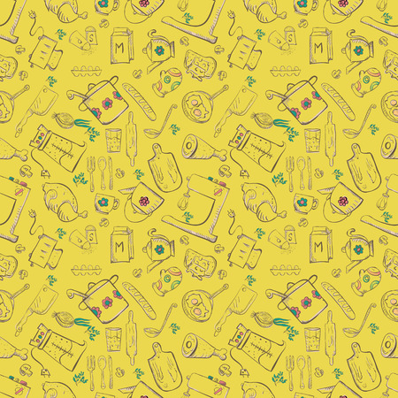 vector seamless pattern of sketch for kitchen accessories and food  Illustration