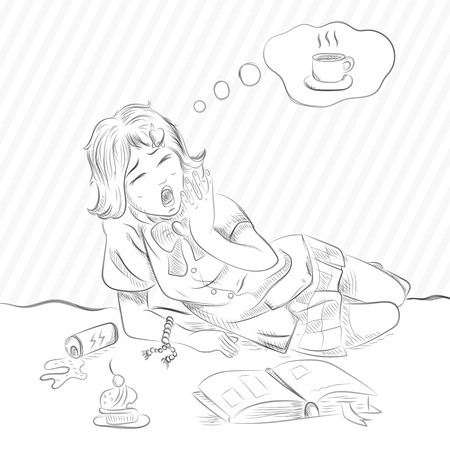 vector sketch of girl lies yawns and thinks about coffee