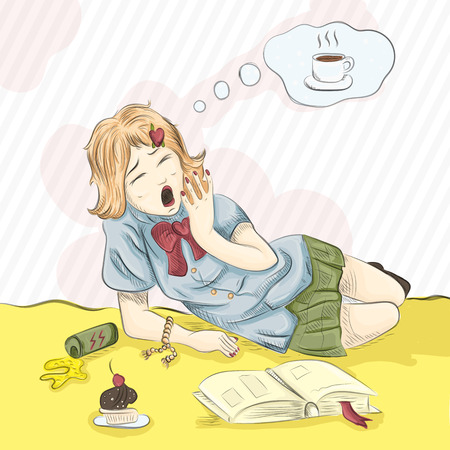 Vector illustration drawing girl lies yawns and thinks about coffee Illustration