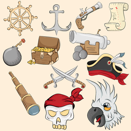 Vector illustration of symbols and objects associated with piracy Ilustração
