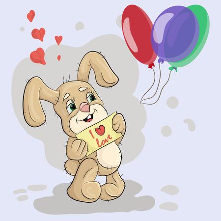 vector illustratie van een klein konijn met een bordje dat zegt dat ik hou van Stock Illustratie