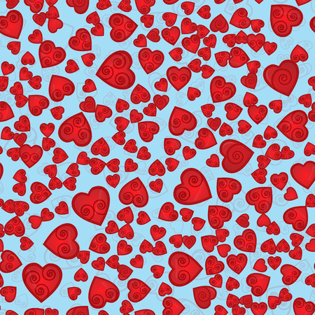 vector seamless pattern of hearts, with the spiral inside the contours and shading blue background