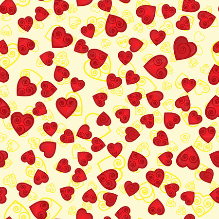 vector seamless pattern of hearts, with the spiral inside the contours and fill the yellow background