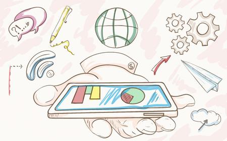 Vector kleur schets van de hand met de telefoon pictogrammen technologie en communicatie