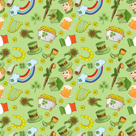 Vector childrens seamless pattern for design of the Irish holiday St. Patricks Day green background