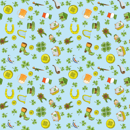 Vector childrens seamless pattern for design of the Irish holiday St. Patricks Day blue background