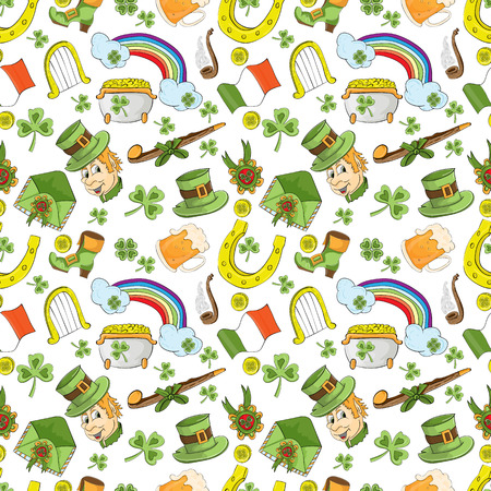 Vector childrens seamless pattern for design of the Irish holiday St. Patricks day Illustration