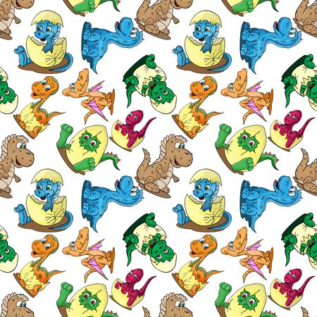 Vector seamless pattern illustration depicting little babies of different dinosaurs in the egg a childs drawing