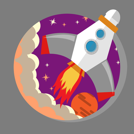 Rocket flying into space flat vector illustration.