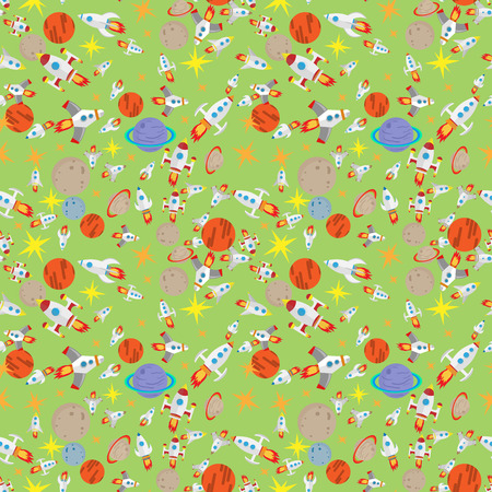 vector seamless pattern of space ships flying in the space among planets and stars in flat design style green background
