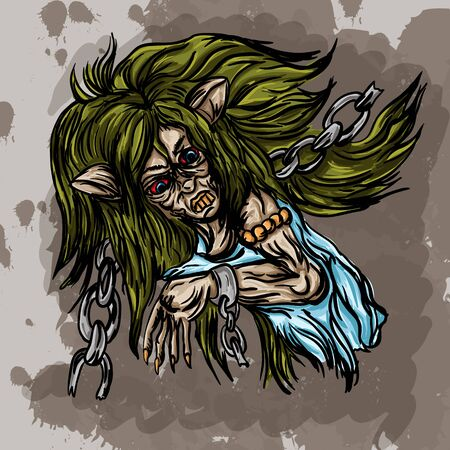 Vector illustration of a witch cat in broken chains with long green hair